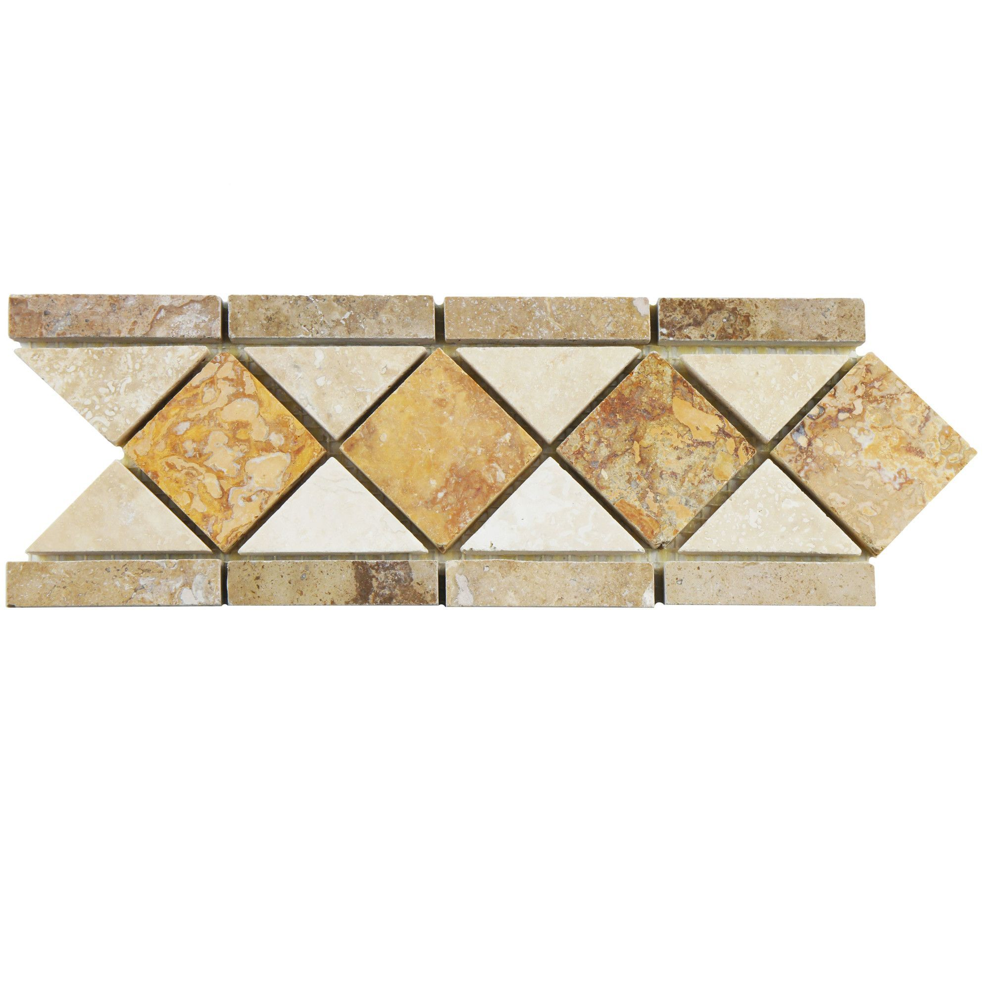 Elitetile Boutin 12 5 X 4 Travertine Border Tile Trim In Noce