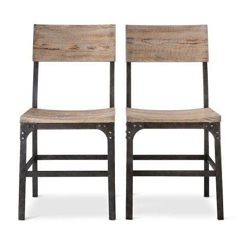 Franklin Wood Seat Dining Chair Set Of 2 Weathered Gray Threshold Metal Dining Chairs Dining Chairs Metal Chairs