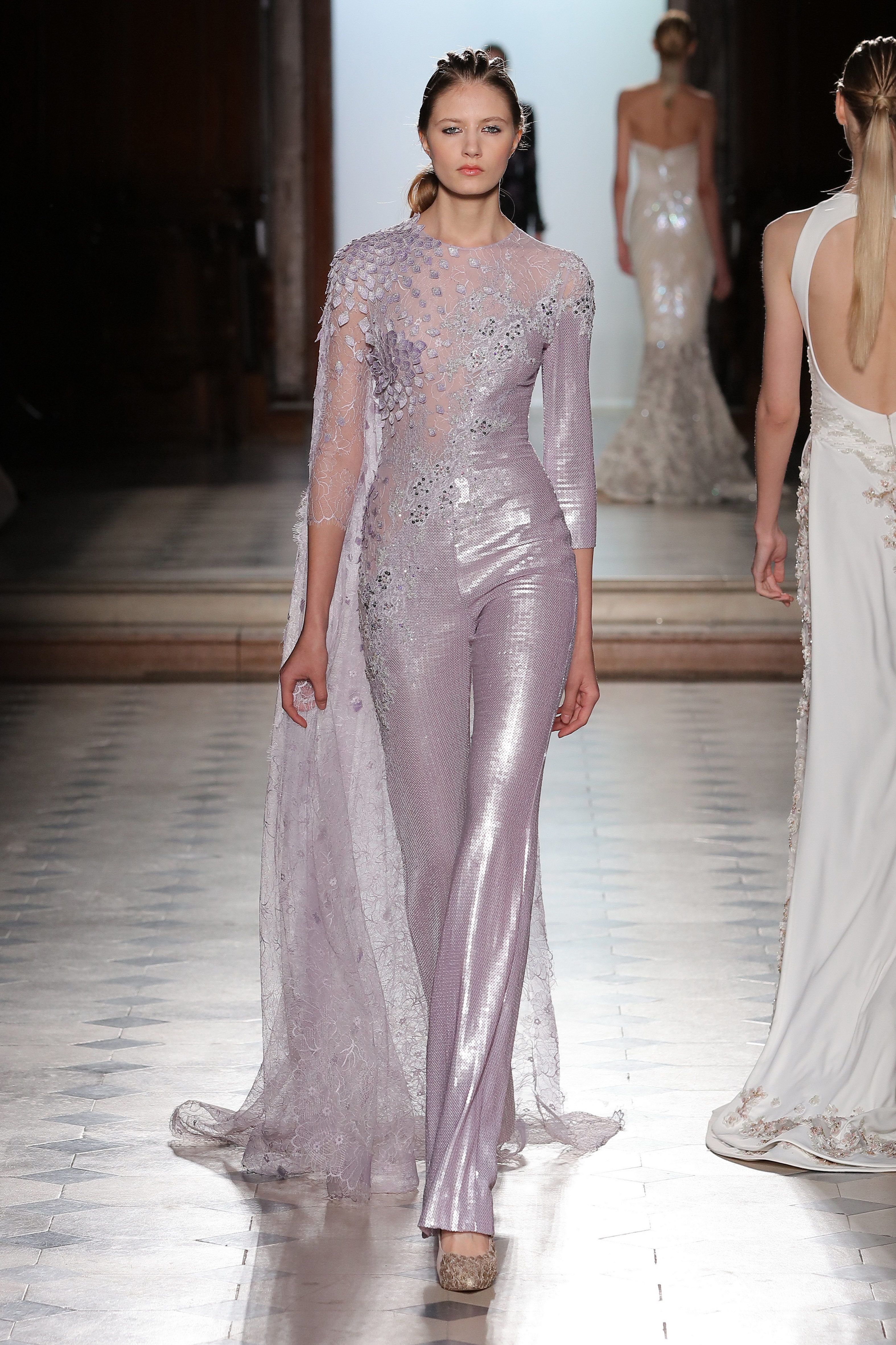 7ca5a8c7dc6 Tony Ward Couture I Spring Summer 2018 I Lilac sequined jumpsuit with a  one-sided 3D embroidered bust in lace