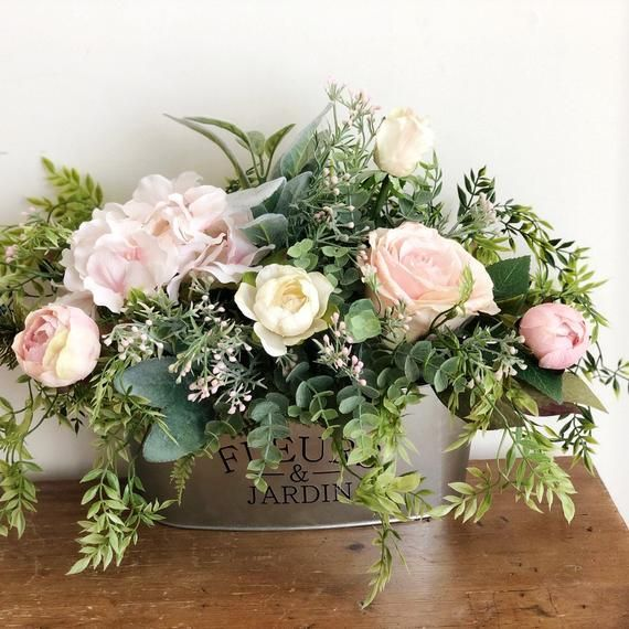 Photo of Farmhouse Style Floral Arrangement | Pink Floral Arrangement | Blush Floral Centerpiece | French Country | Birthday