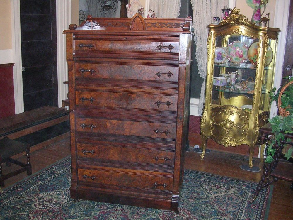 Antique Burl Walnut Sidelock Side Lock Dresser With Gallery And Ornate Pulls Wow