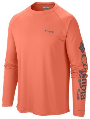 68d646f2a99 Columbia Terminal Tackle PFG Logo Long Sleeve T-Shirt for Men - Bright  Peach/Grill Logo - 2XL