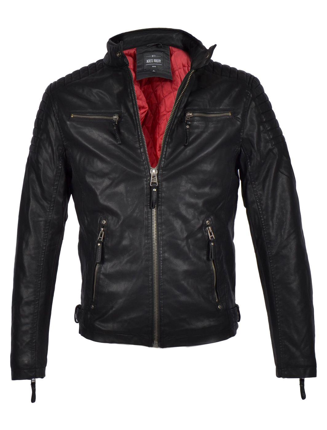 85c0c329f96497 Heren jas met rode voering kunstleer – zwart Basic | Leren heren ...