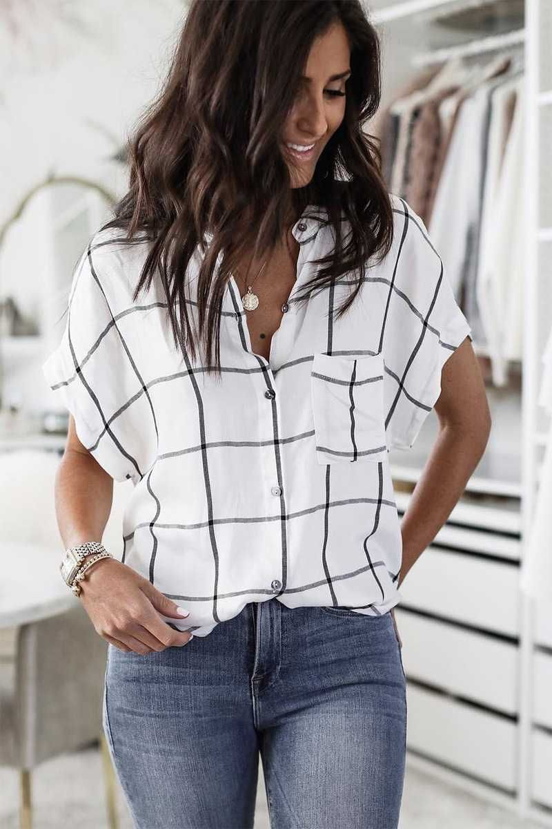 Oversized Big Checked Black And White Lattice Flannel Button Up Shirt With Pocket Shirt Outfit Women Plaid Shirt Outfits Black And White Shirt [ 1200 x 800 Pixel ]