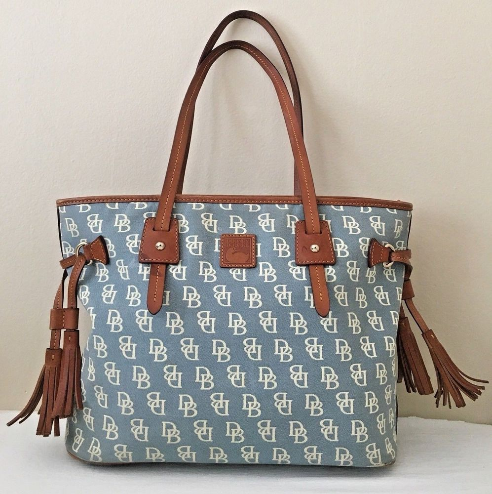 Dooney Bourke Vintage Purse Blue Signature D B Canvas Satchel Bag Dooneybourke