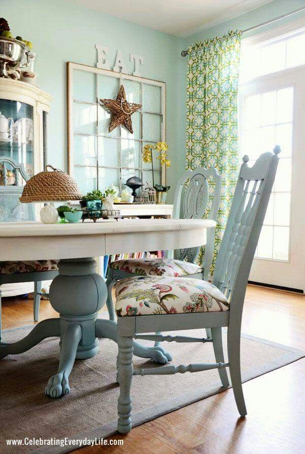 Dining Room Table And Chairs Makeover   Iu0027d Paint The Entire Table White.  Love The White And Robinu0027s Egg Blue Combo. By Nelda