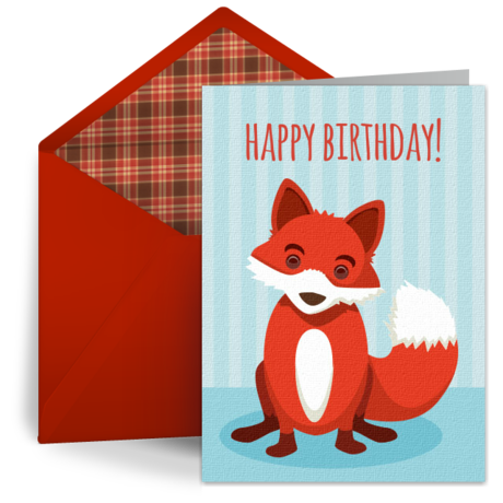 Free digital cards birthday fox from punchbowl printables free digital cards birthday fox from punchbowl bookmarktalkfo Image collections