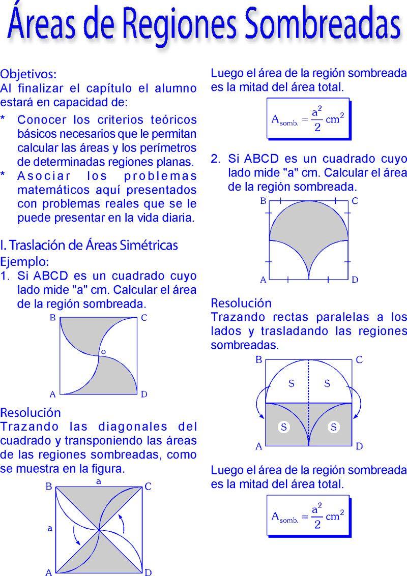 áreas De Regiones Sombreadas Métodos Y Ejercicios Resueltos Pdf Cursos De Matematicas Lecciones De Matemáticas Funciones Matematicas