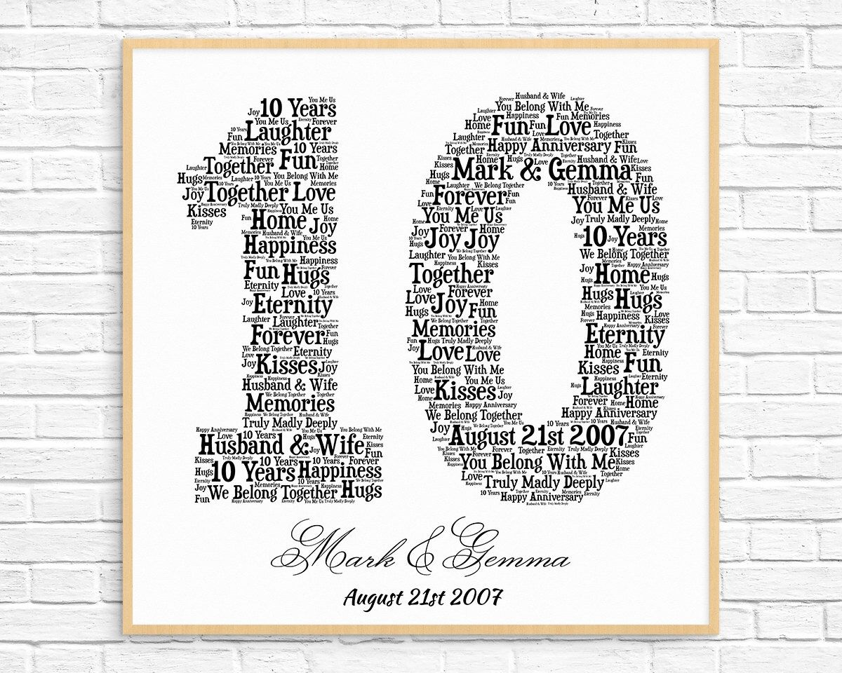Personalized 10th Anniversary Gift Word Art Printable Art