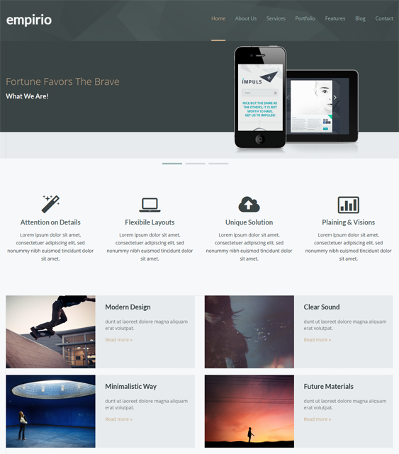 This Bootstrap Drupal theme features a responsive layout