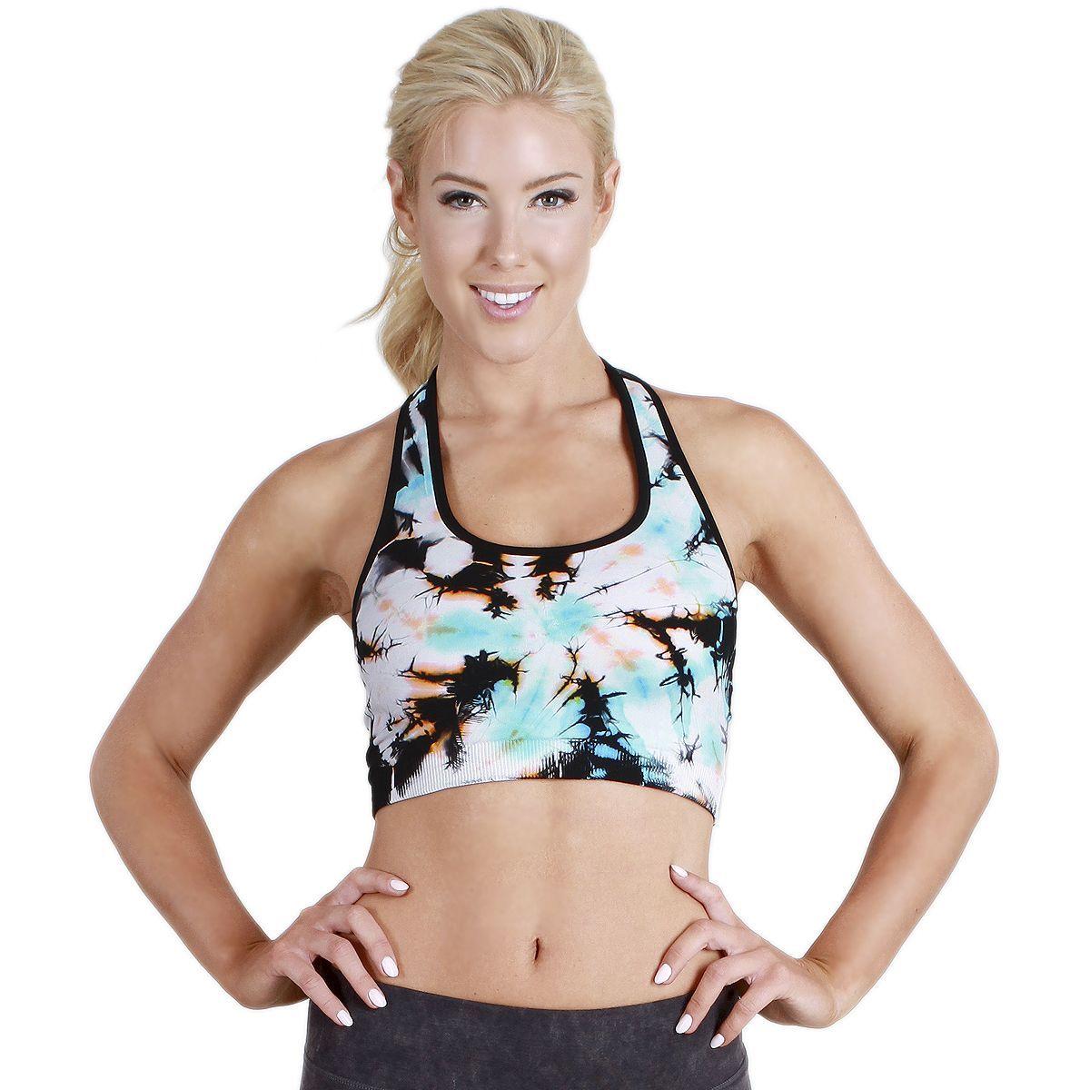 072f3250a0 Nikibiki Activewear Women s Twister Tie Dye Racerback Sports Bra Top ...