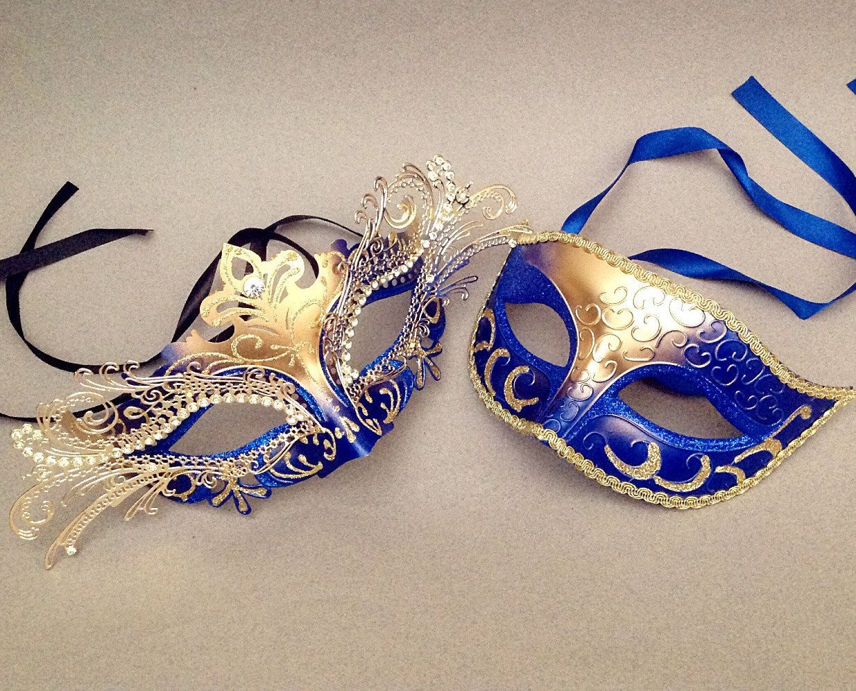 Gold accent Blue couple masquerade mask pair luxury Laser ...