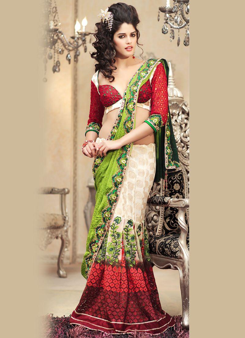 Beautiful White #Brocade Sari | Lehenga Style Sarees | Pinterest