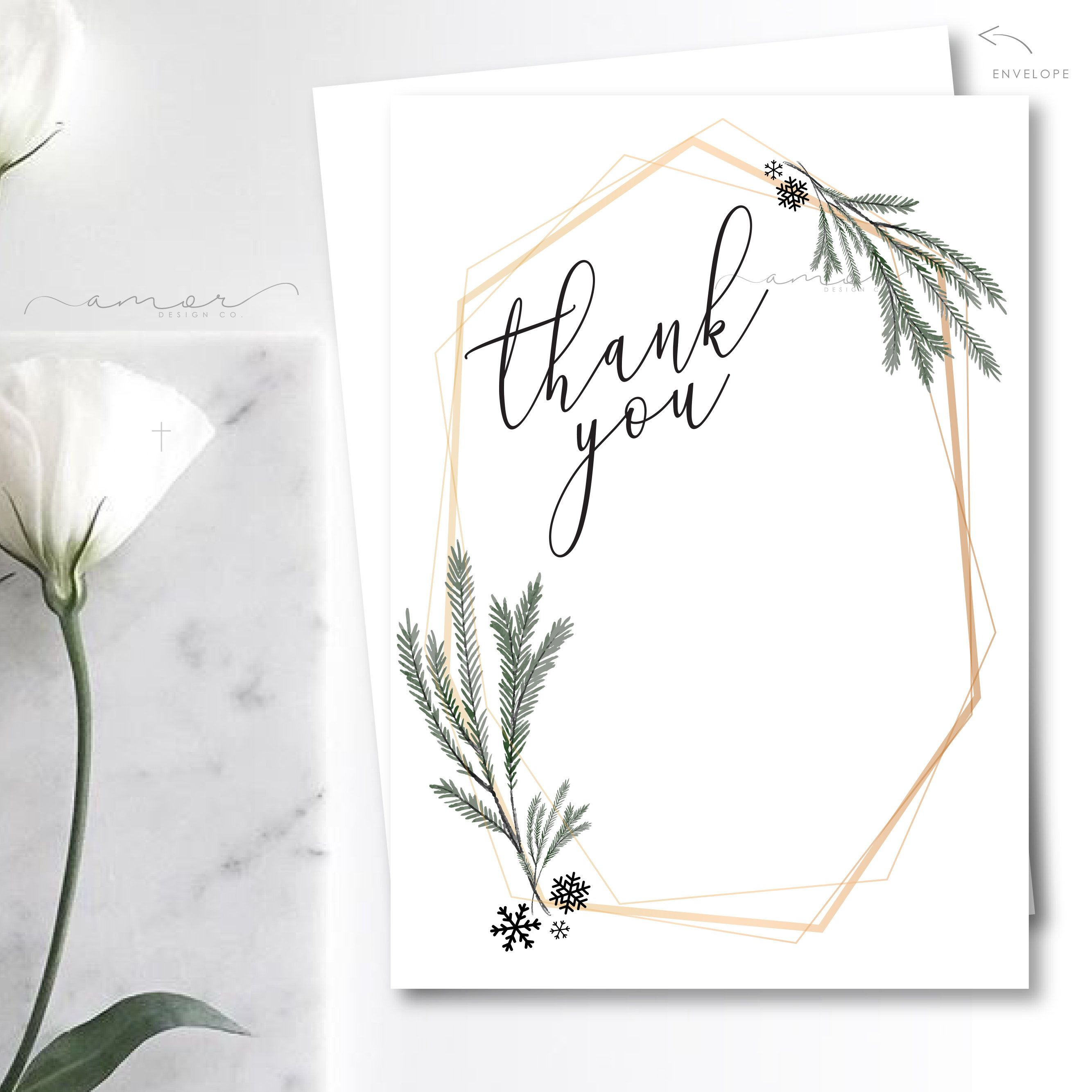 Modern Winter Thank You Cared, Winter Wonderland Baby Shower, Modern Pine Thank You, Minimalist Winter Thank You Card, Holiday Thank You #businessthankyoucards