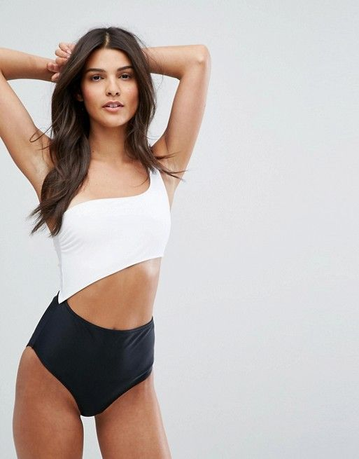 New Look Monochrome One Shoulder Swimsuit 37 At Asos