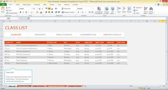 Free semester schedule template for Excel 2013 #template Free