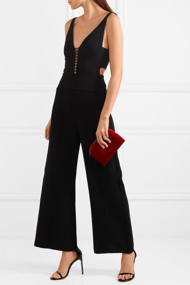 68961b7395ac Narciso Rodriguez - Leather-trimmed Cutout Wool-crepe Jumpsuit - Black