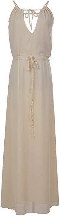 1b9e017d575e Anna-Kaci Womens Chiffon Ivory Cream Greek Goddess Toga Summer Beach Long  Maxi Dress