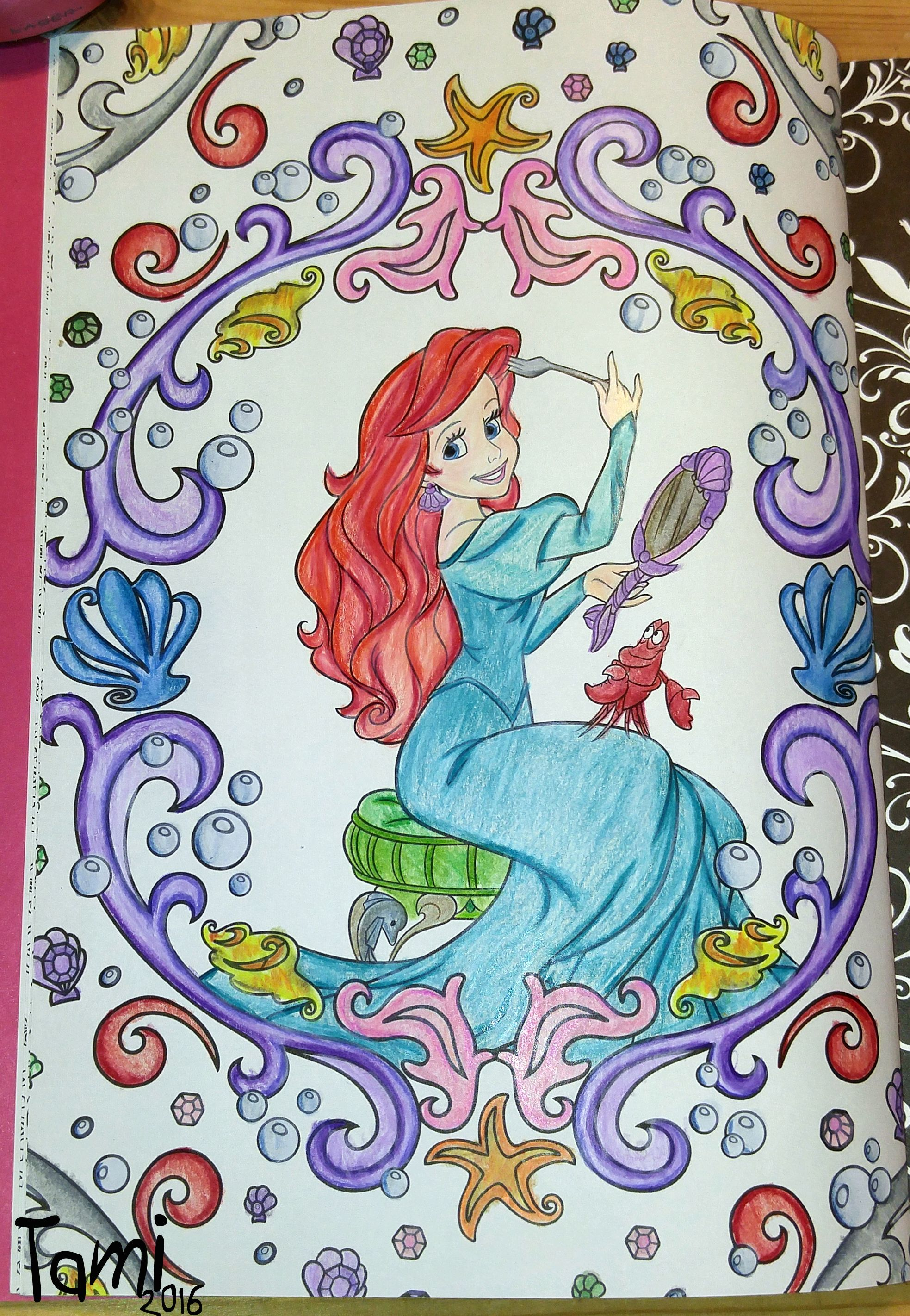 done with prismacolor pencils from Art Therapy Disney Princesses
