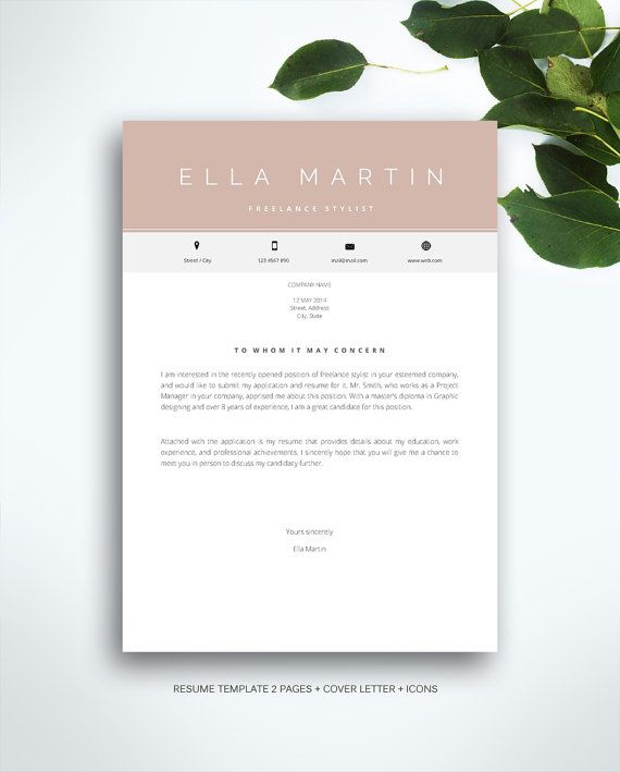 Resume Template 3 Page Cv Template Cover Letter Instant Download For Ms Word Ella Resume Template Cover Letter For Resume Cv Template