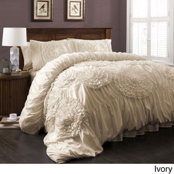Ruffled Queen Comforter Set Chic Shabby Quilt Bedspread Girls Bedding Off White Shabbychic Comforter Sets Chic Bedroom Queen Comforter Sets