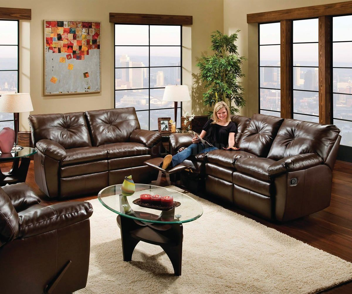 Black or Brown Bonded Leather Modern Dual Motion Living Room ...