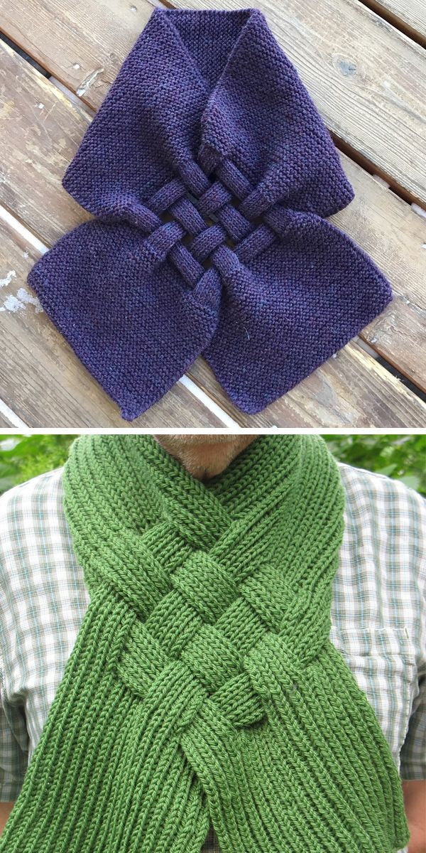 Free Knitting Pattern For Celtic Knot Looped Scarf Knitting
