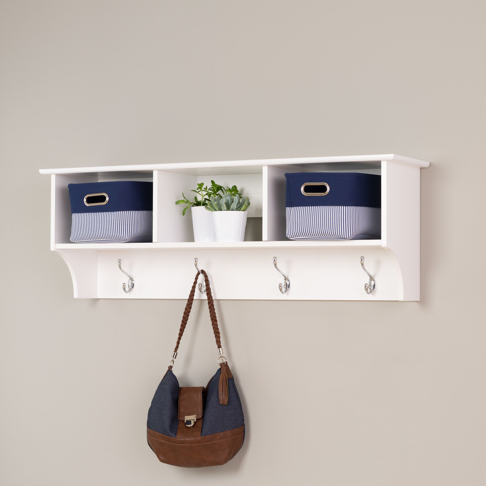 Features 3 Cubbies Easy To Install Using A Two Piece Hanging Rail System Style Tra Hanging Entryway Shelf Entryway Cubby Shelf Wall Mounted Coat Rack