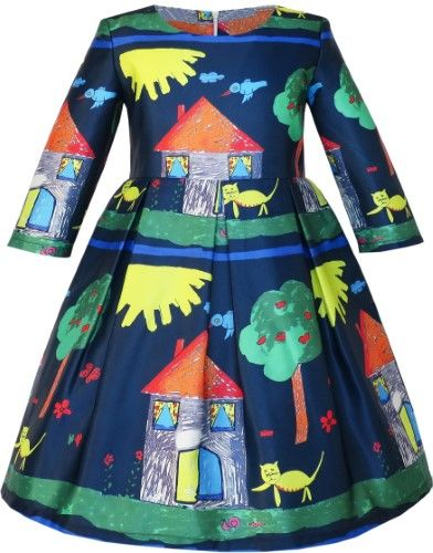 Sunny Fashion Girls Dress Satin Silk Butterfly City Building View Pink