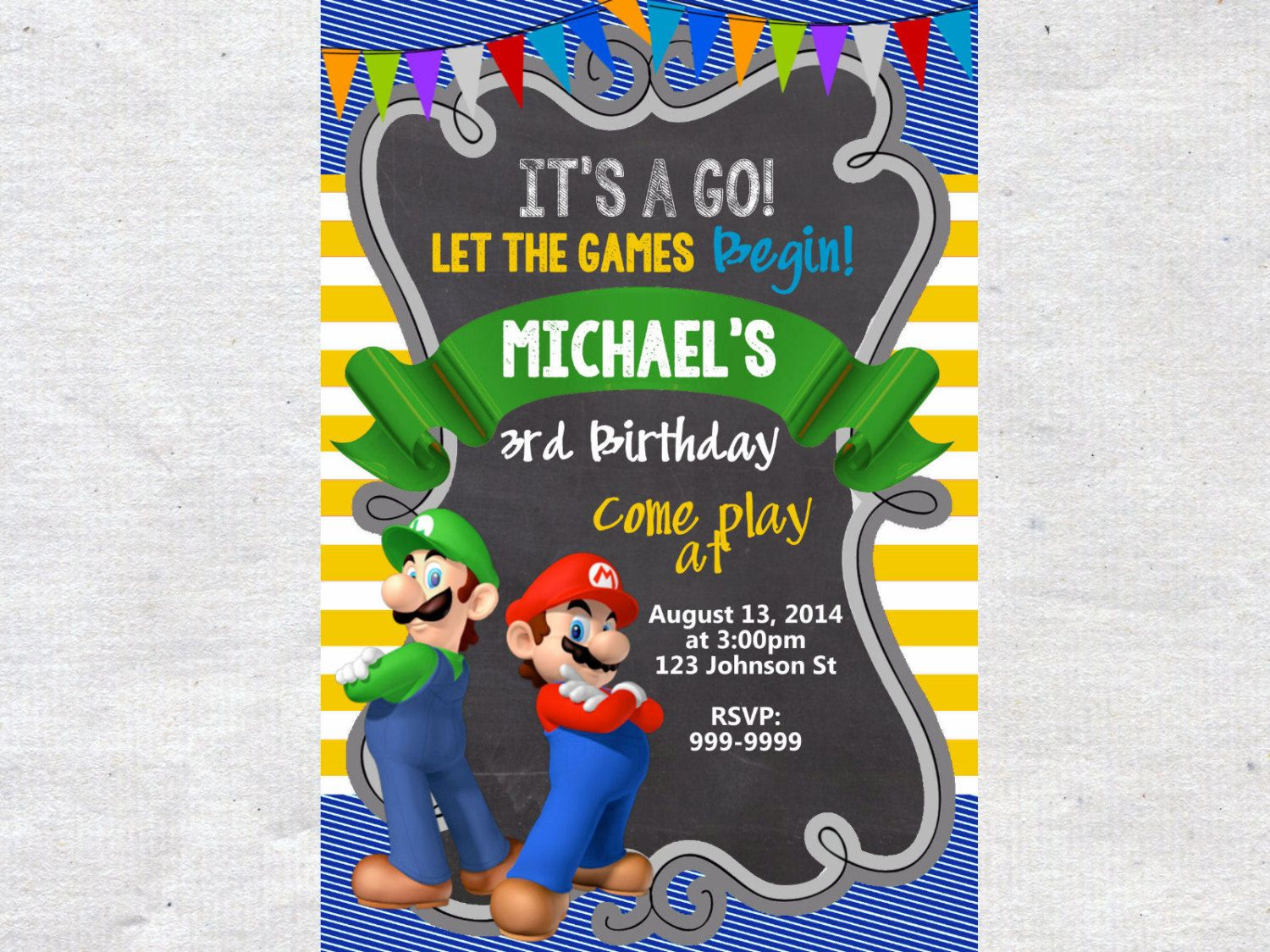 Super Mario Brothers Birthday Invitation Chalkboard by VPrintables – Mario Party Invites