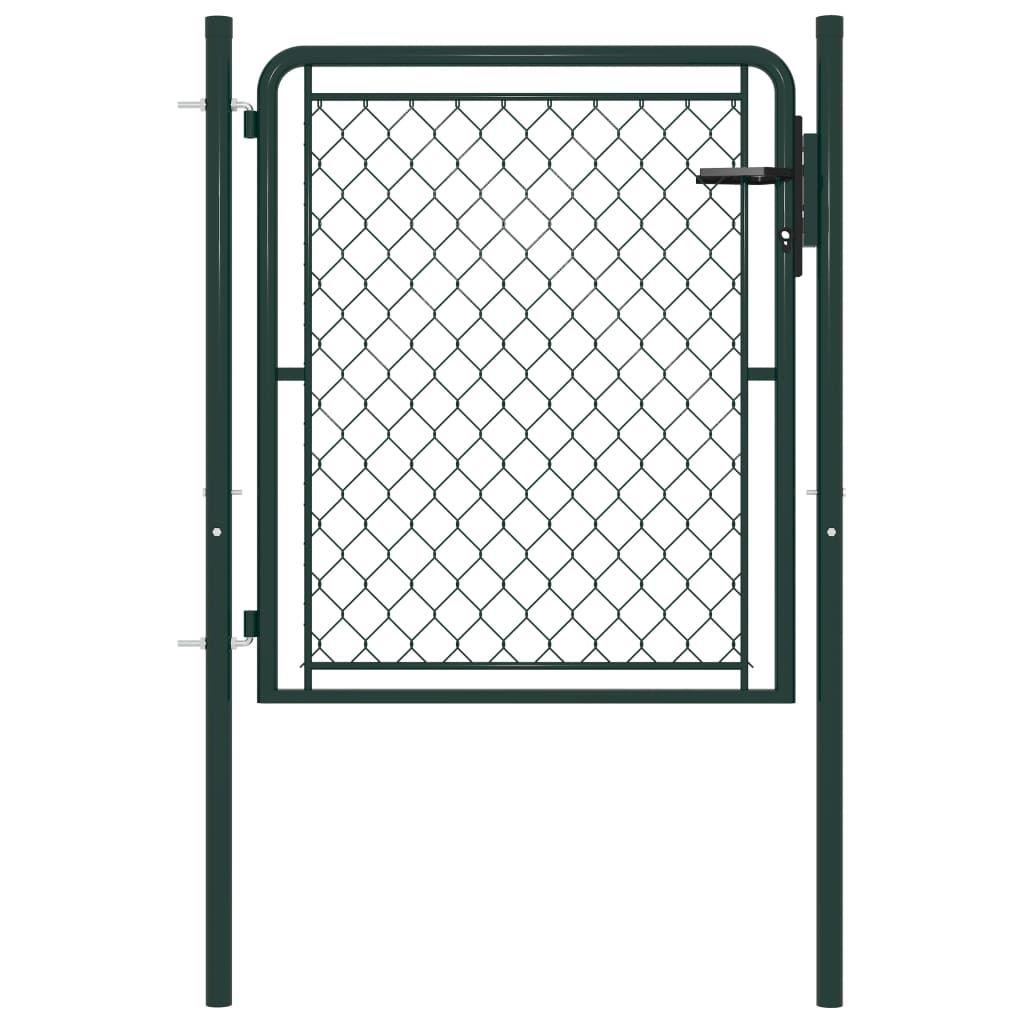 vidaXL Garden Fence Door Green 100 x 100 cm. Steel
