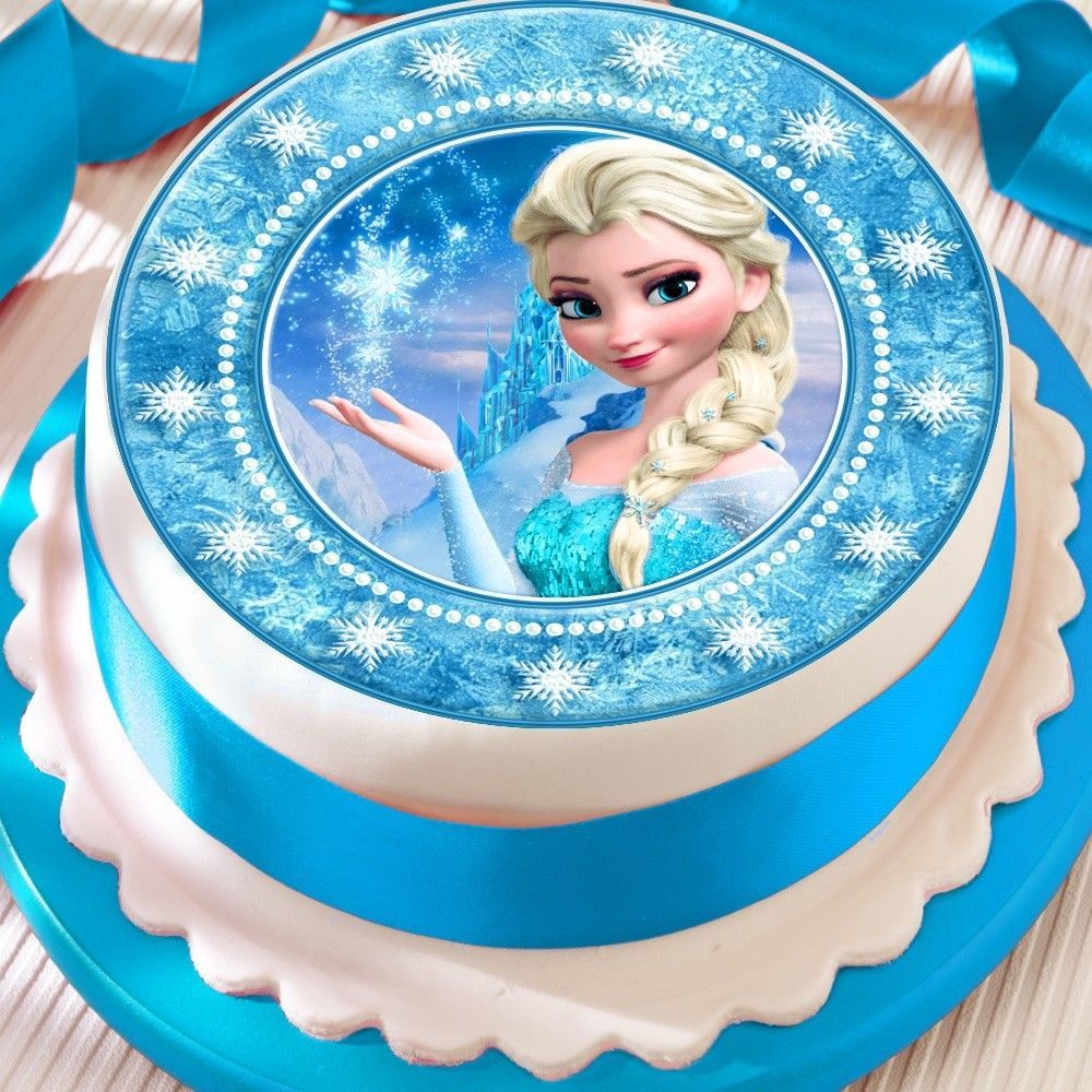 Frozen Elsa Star Border Precut Edible Birthday Cake Topper
