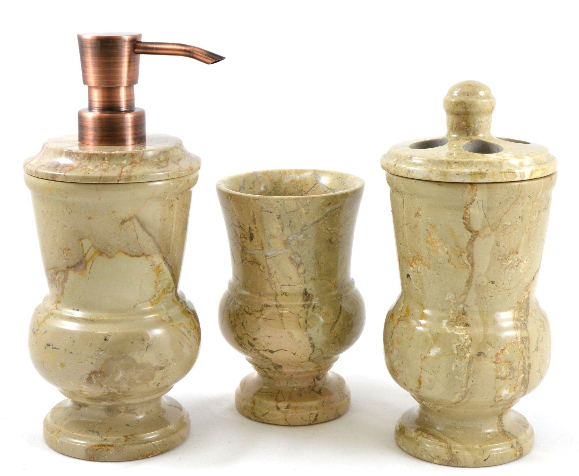 mediterranean 3 piece sahara beige marble bathroom accessory set, Badezimmer ideen