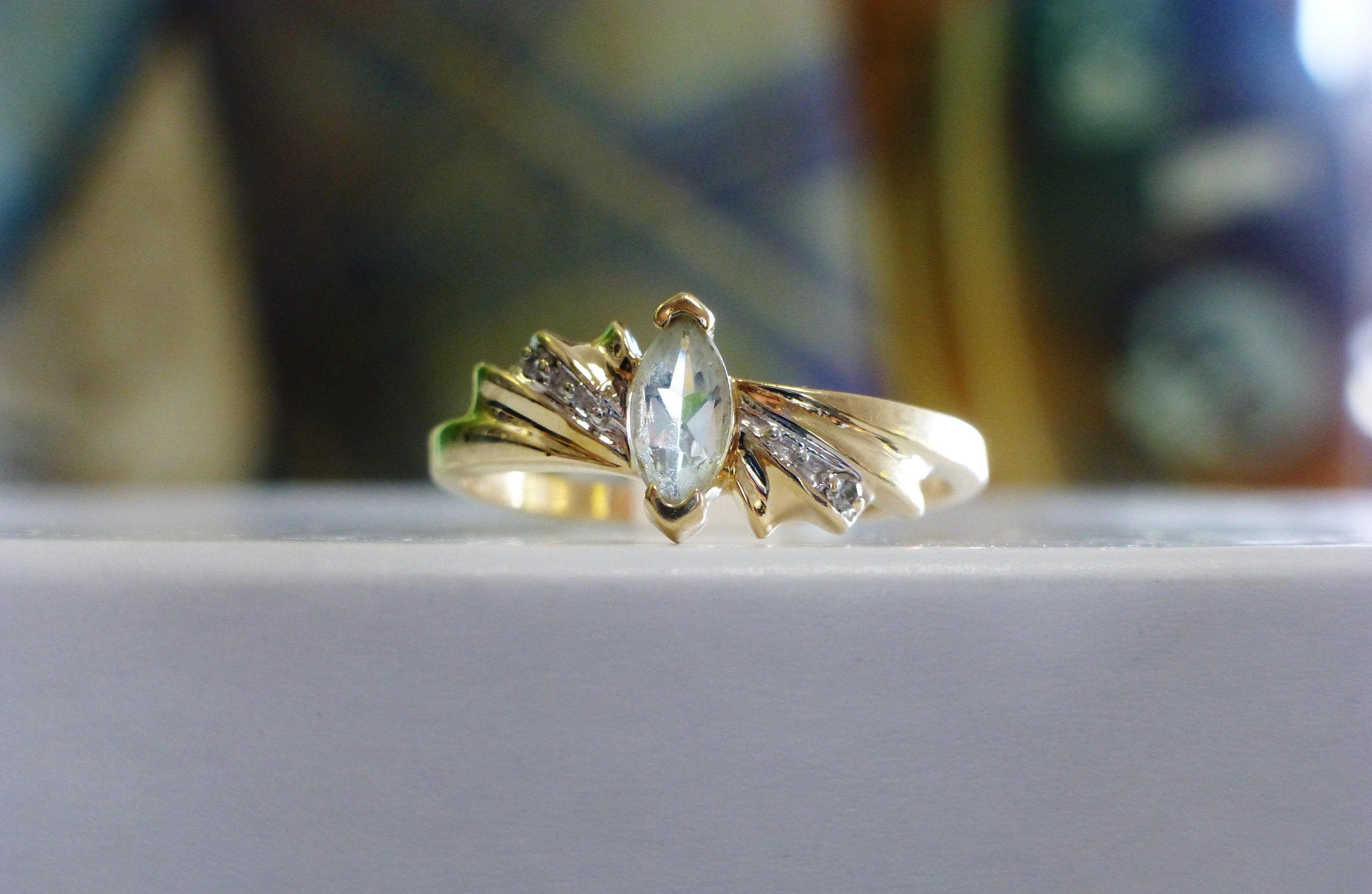Marquise Aquamarine Diamond Accent Ring Ladies Vintage 10k Yellow Gold Diamond Accent Ring Marquise Shape Diamond Diamond