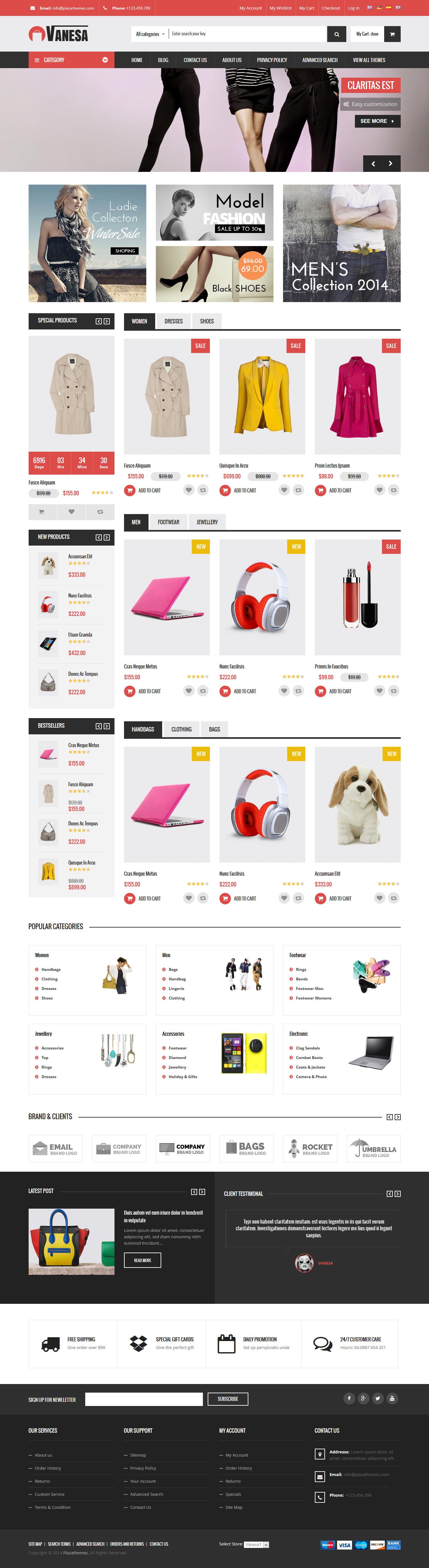 Vanesa - Mega Store Responsive Magento Theme Demo 1 #website #webshop #ecommerce Download: http://themeforest.net/item/vanesa-mega-store-responsive-magento-theme/9430758?ref=ksioks