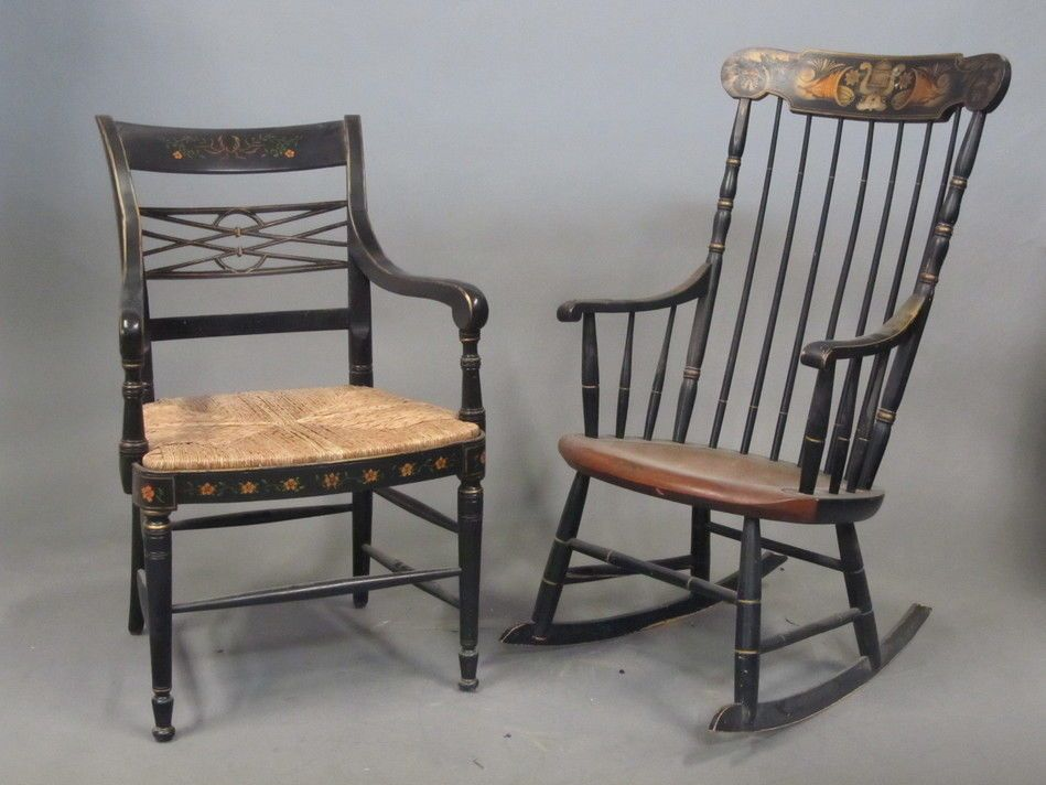 Alfonso Marina Ebanista Black Gold Painted Chair L Hitchcock Rocking Chair Alfonsomarinalhitchcock Cou Painted Chair Rocking Chair Antique Chairs For Sale