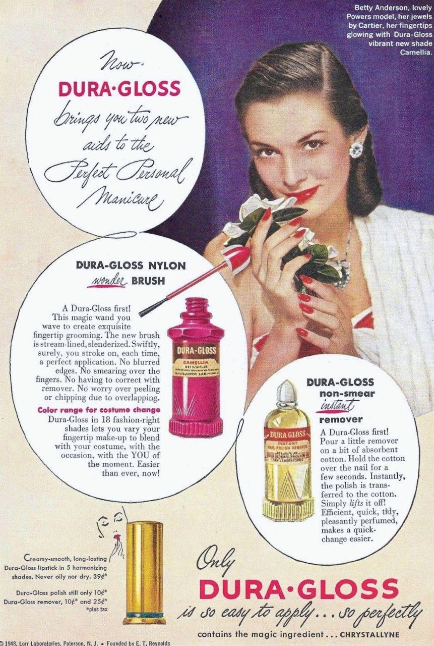 Dura Gloss Lipstick Nail Polish Remover Ad 1948