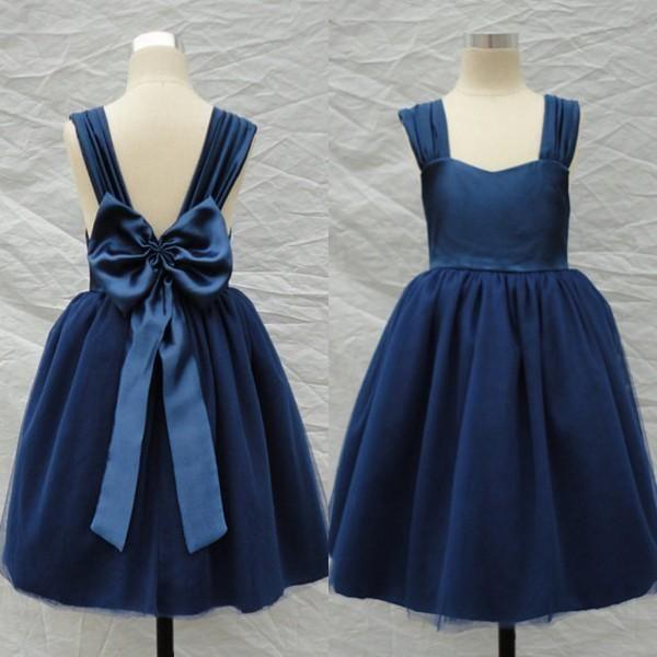 6fafb746efa The flower girl tutu dress which match the flowers- dark blue flower girl  dresses square sleeveless communion dresses tea length tulle pageant dresses  for ...