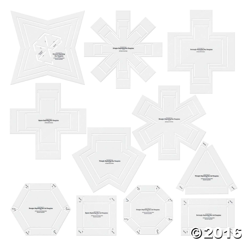 Exploding Box Stencil Templates. Includes plastic hexagon ...