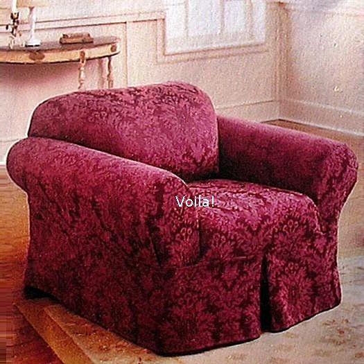 Rachel Ashwell Simply Shabby Chic CHAIR Slipcover Damask Burgundy Armchair  Slip Cover fa97f6bd3