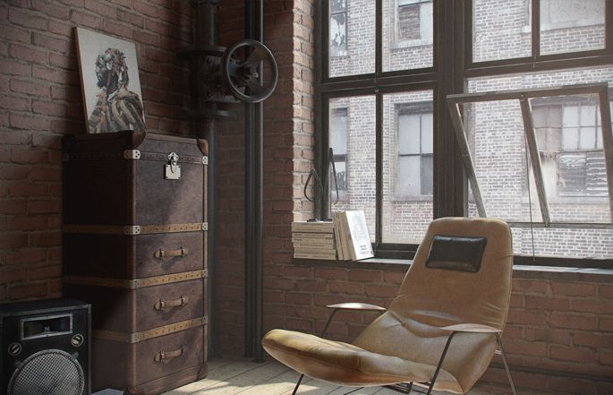 A Loft Apartment Bachelor Pad | Industrial living rooms, Industrial ...