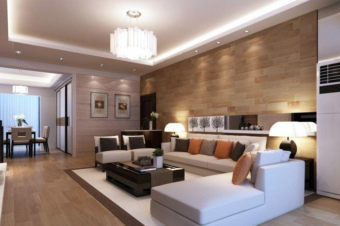 lampen wohnzimmer abgehängte decke einbauleuchten weiße möbel ...