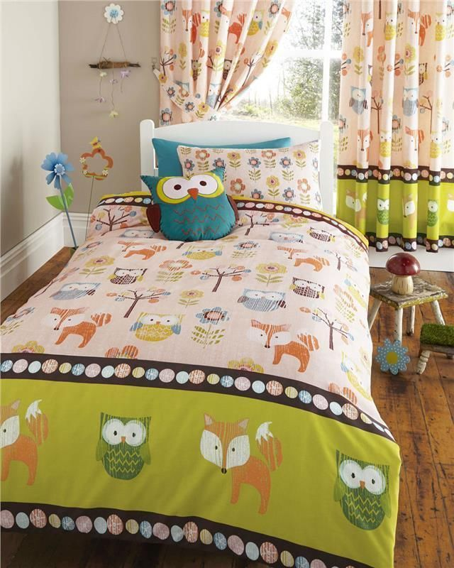 Woodland Animals Owls Bedding Set Duvet Cover Sets And Or Matching Curtains Kids Single Beds Bed Duvet Covers Single Bedding Sets