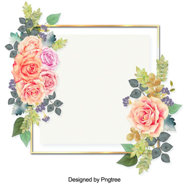 Beautiful Flowers And Leaves Painting The Border Flower Wreath