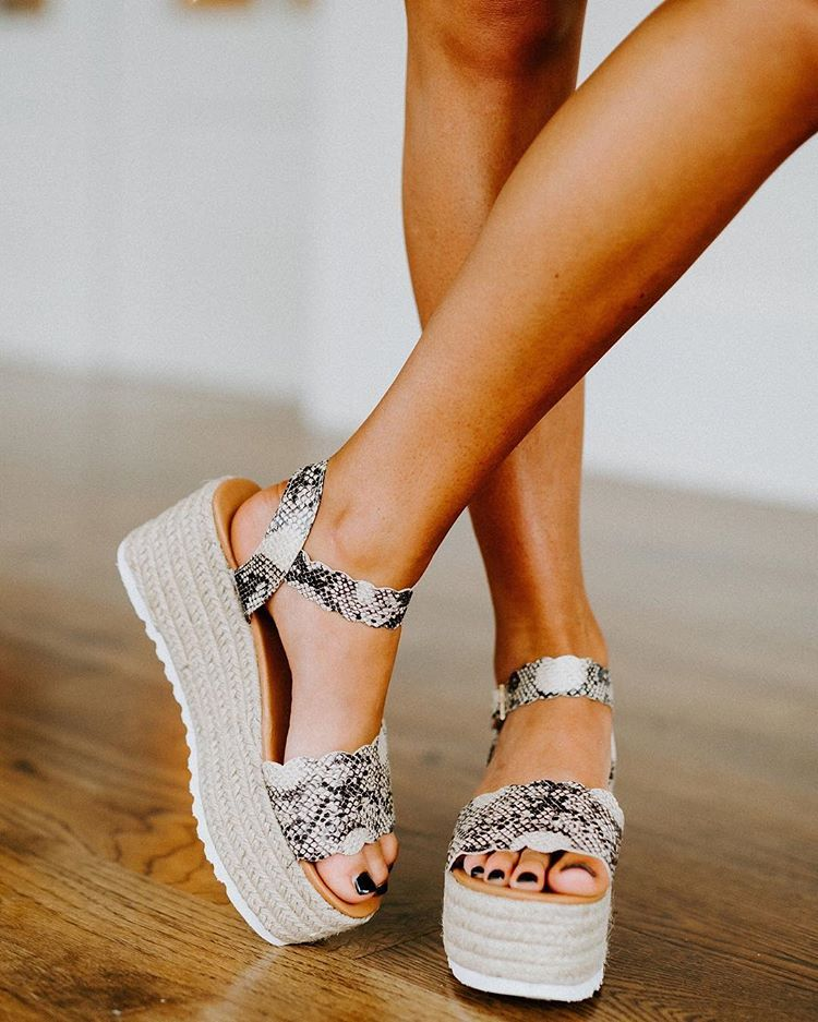 """These Three Boutique on Instagram: """"NEW! Scalloped Espadrilles in Snakeskin $38! Launching @ 5pm central today! 🖤"""" 1"""