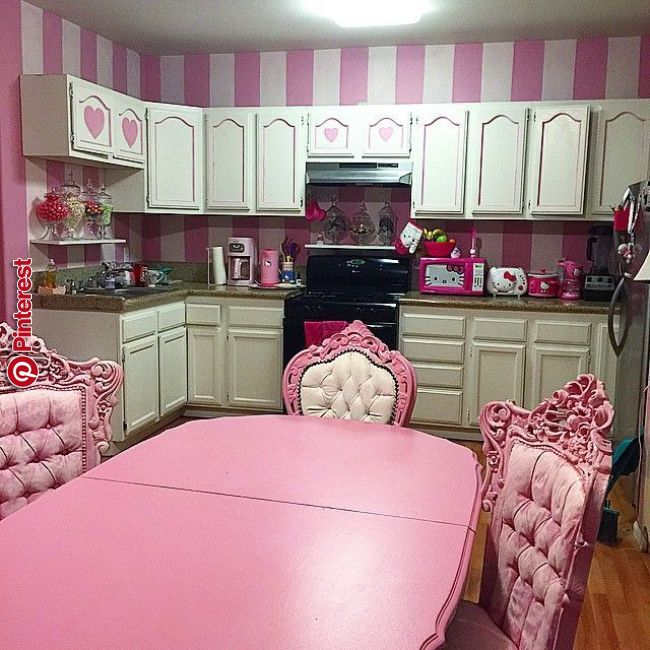 pink striped kitchen with hello kitty appliances colorful home decor hello kitty kitchen on kitchen decor pink id=83526