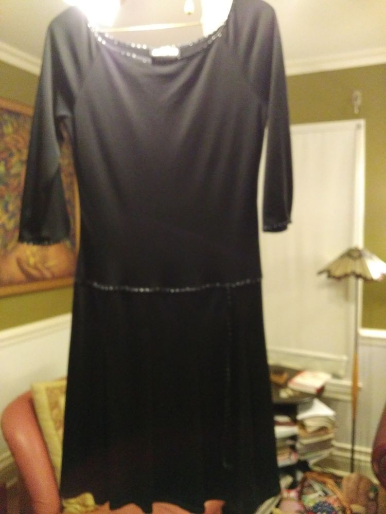 BLACK, JODI CHRISTOPHER, DRESS WITH SATIN BLACK AND WHITE DOT TRIM #JodiKristopher #LittleBlackDress