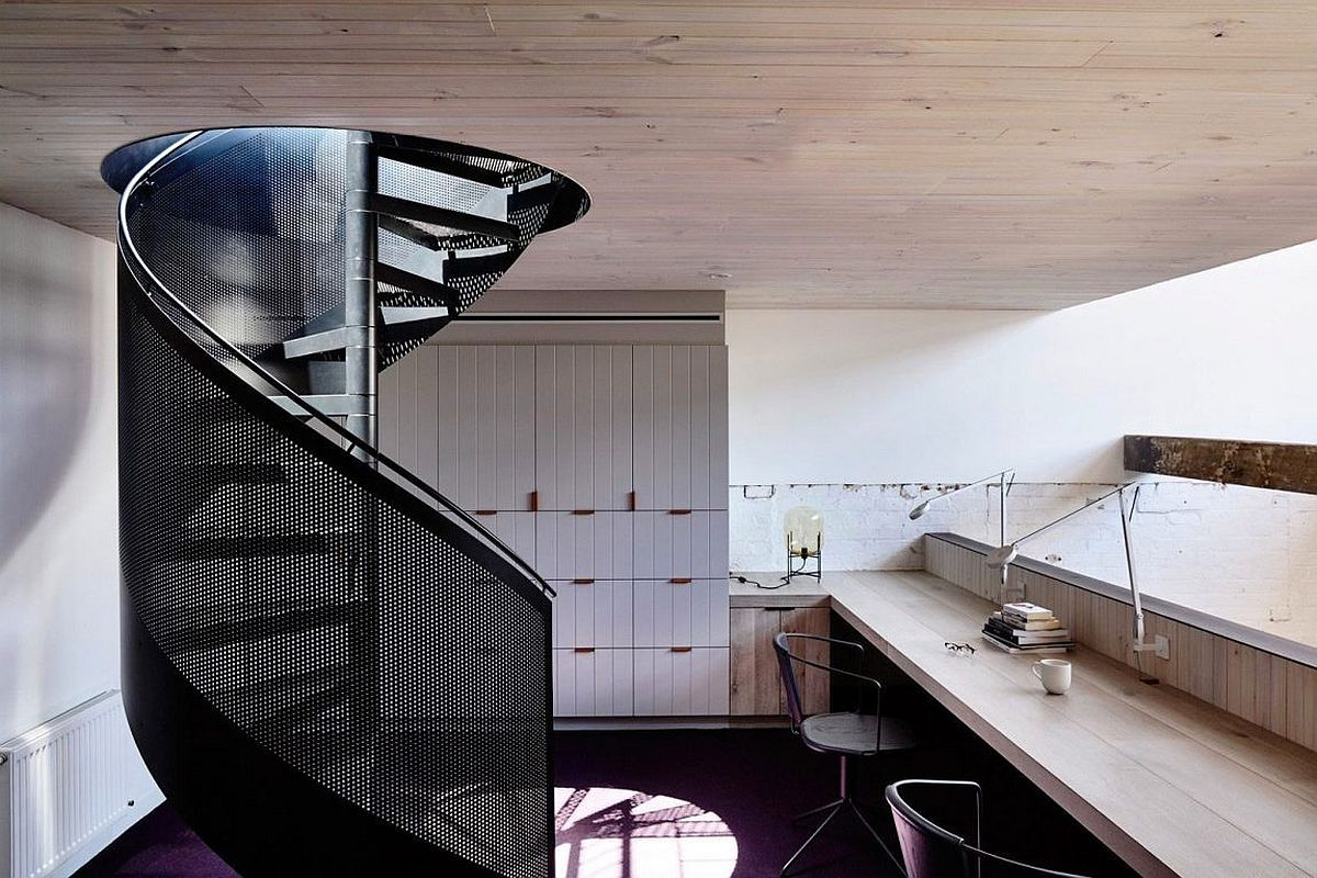 Spiral Metal Staircase Leading To The Private Home Office   Decoist