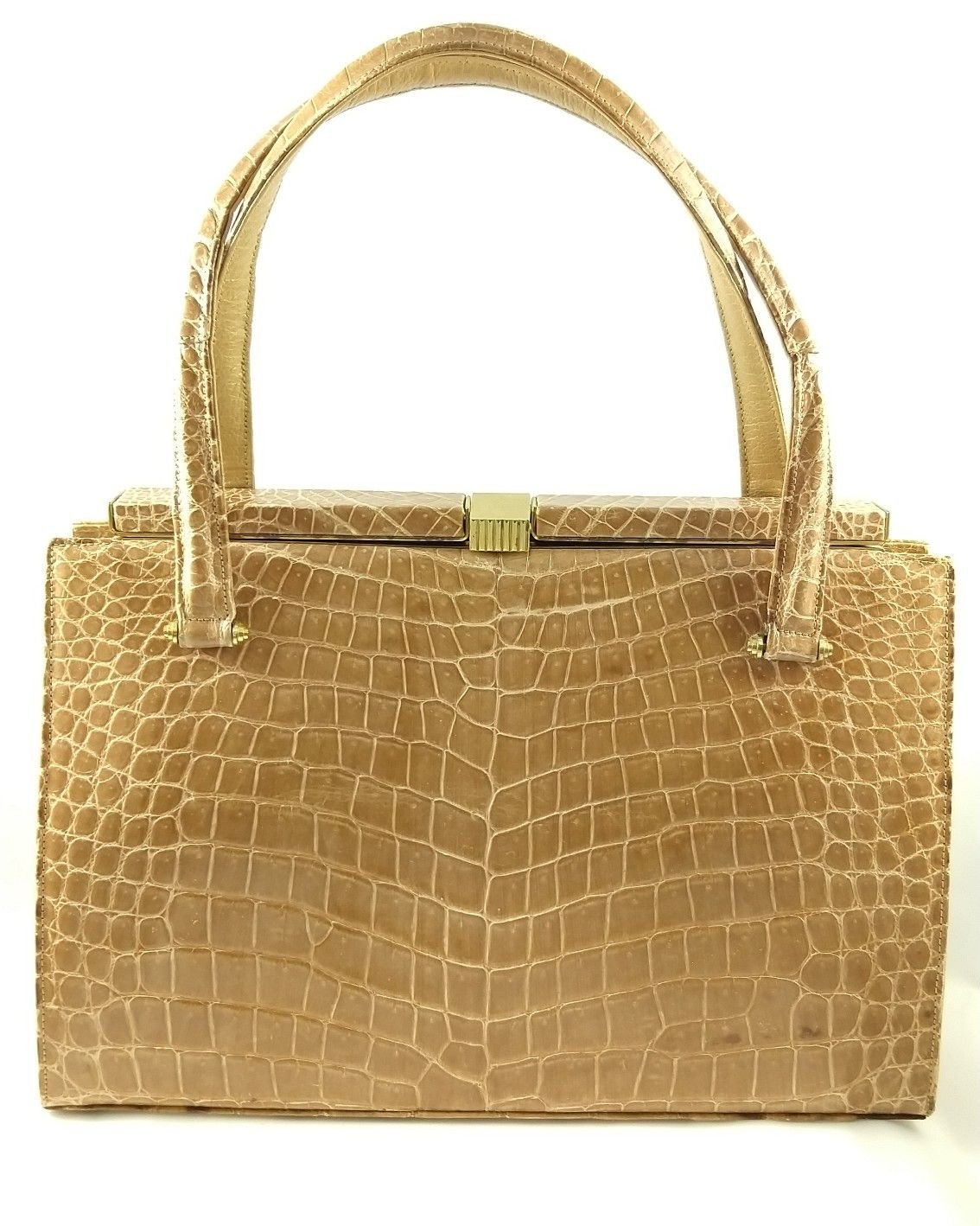 7c8032c0d9d4 Beautiful Lucille de Paris handbag in very good vintage condition! With  taupe crocodile skin and