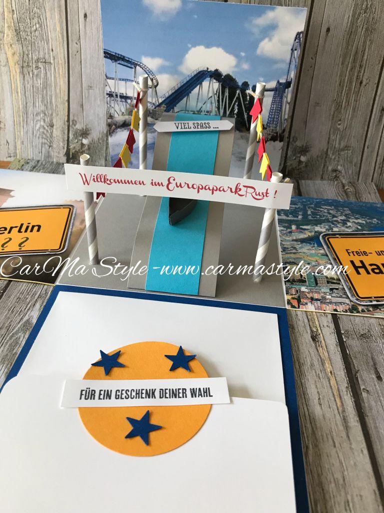 Ausflug In Den Europapark Carma Style Gutschein Geschenke Explosionsbox Geschenke Basteln